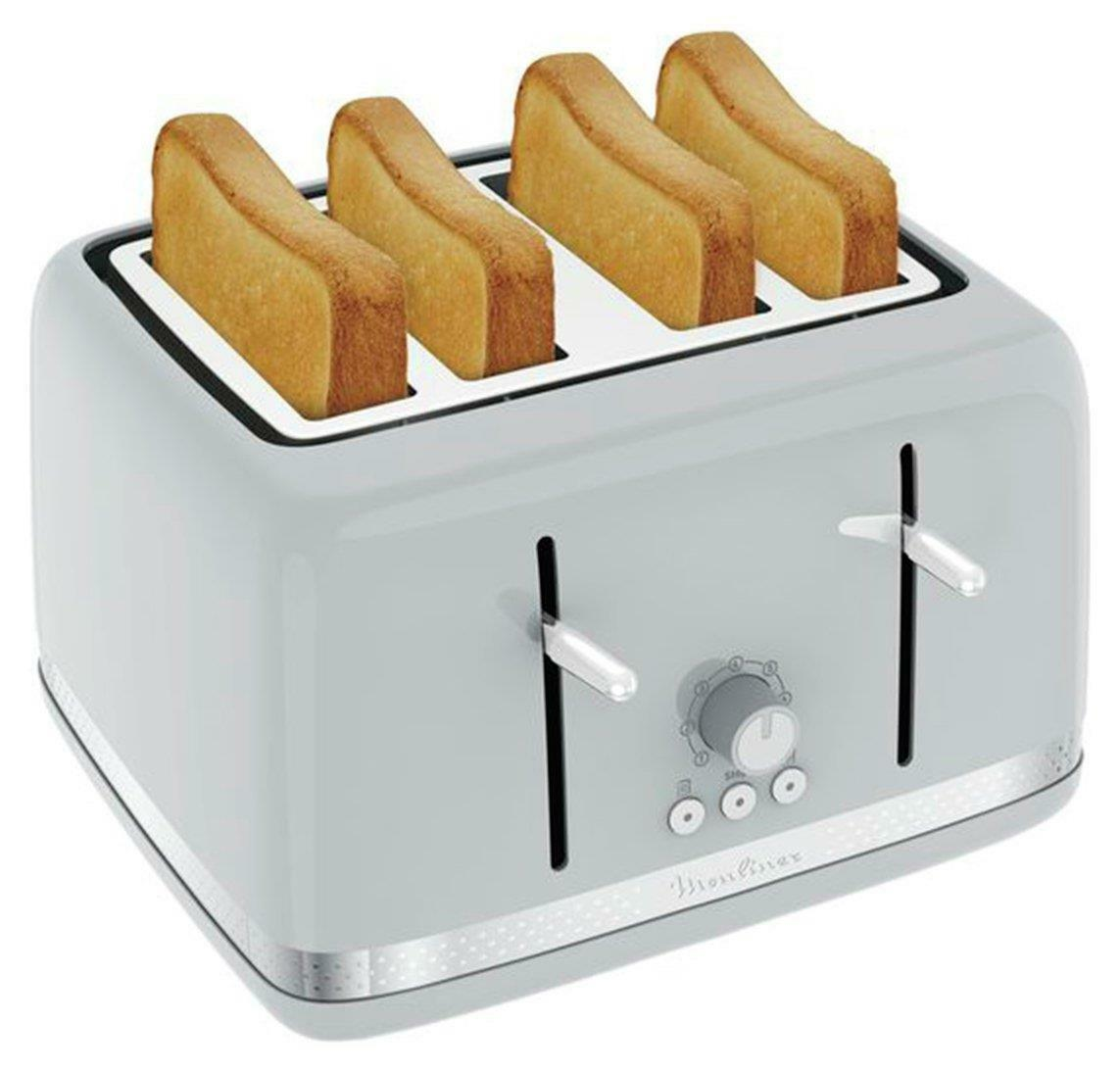 Moulinex Grey 4 Slice Retro Vintage Design Kitchen Bread Toaster - UK Power Plug
