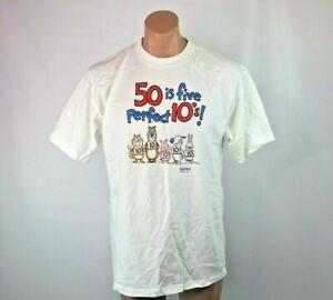 50-is-five-perfect-10-039-s-birthday-50th-VTG-90s-SHOEBOX-funny-Sz-L-T-Shirt-NWOT