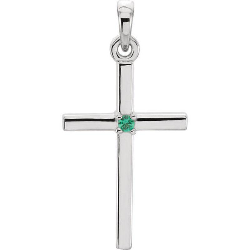 Smeraldo Pendente Pendente Pendente a Croce in Platino 1a1b7b