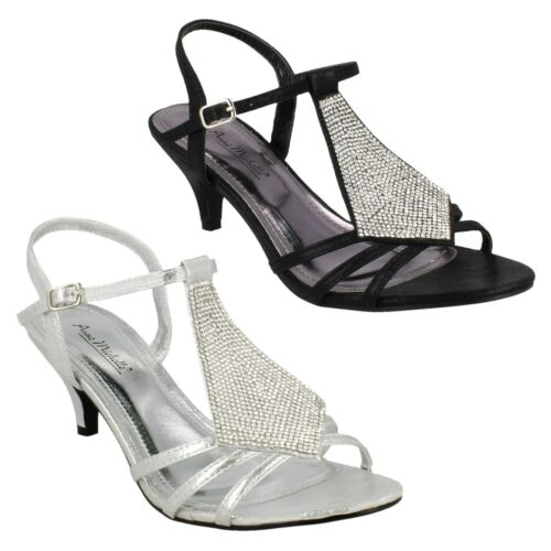 LADIES WOMENS ANNE MICHELLE KITTEN HEEL OPEN TOE DIAMANTE EVENING SANDALS F10652