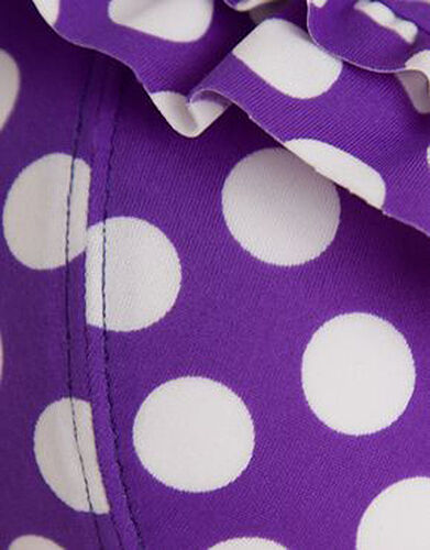 Midnight Grace Figleaves Pin Up Halterneck Tankini Top Purple White Spot 30D NEW