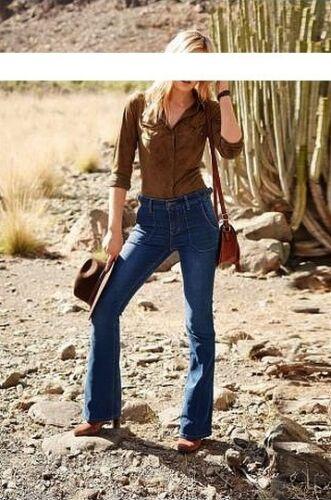 Arizona High Waist Bootcut Jeans Kurz-Gr.17-20 L30 NEU Damen Flare Hose Stretch