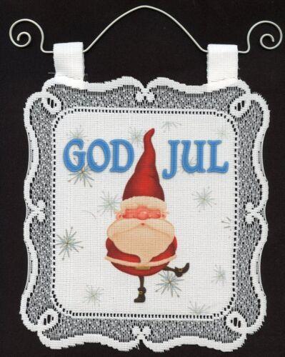 Scandinavian Swedish Norwegian Danish God Jul Gnome Wall Hanging #UNW337