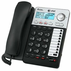 AT-amp-T-ML17929-2-Line-Corded-Office-Phone-System-w-Caller-ID-Call-Waiting-Black