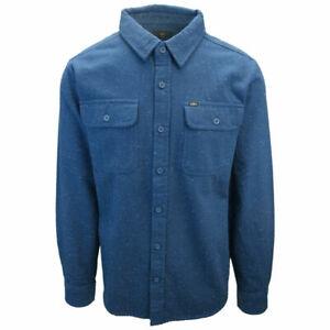 OBEY Men's Dark Blue White L/S Flannel Shirt (S03)