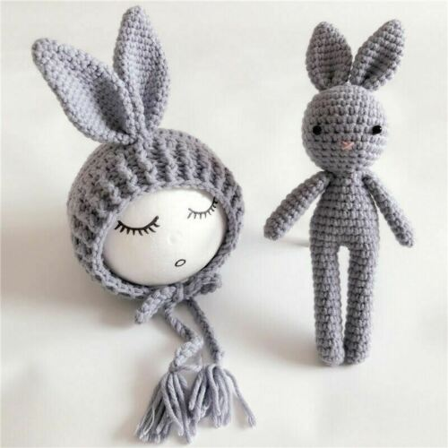 Newborn Baby Crochet Knit Costume Photography Prop Baby Bunny Hat and Doll Set