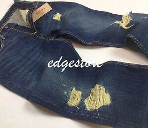 Details about Levi's Levis Men 514 Distressed Ripped Shredded Tattered Straight Jeans Pants