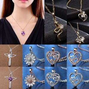 7bc3e03c29 Image is loading Fashion-Heart-Flowers-Cross-CZ-Zircon-Crystal-Pendant-