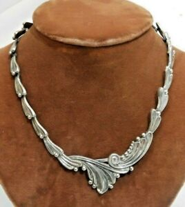Vintage-Margot-De-Taxco-Sterling-Silver-Mexican-Necklace