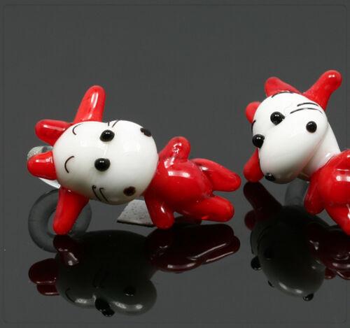 1x vidrio Lampwork colgante Charm joyas bricolaje DIY vaca animal 20x23mm mu638
