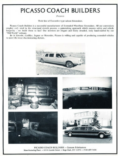 Classic Vintage Advertisement Ad H32 1987 Picasso Limousine Lincoln Mercedes