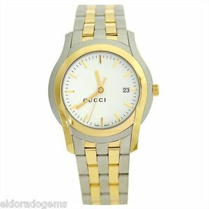 e3a3b3aeb7a GUCCI G CLASS 5505 XL SERIES STAINLESS STEEL   GOLD PLATED DRESS ...