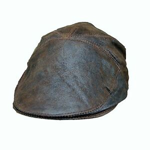 Real Leather Ivy Cap Distressed Leather Gatsby Newsboy