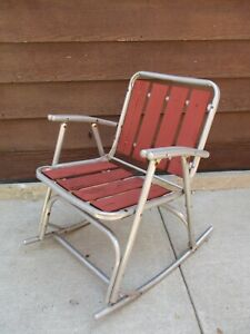 Pleasing Details About Vtg 1960S Mid Century Folding Aluminum Red Wood Slat Rocking Lawn Chair Rocker Gmtry Best Dining Table And Chair Ideas Images Gmtryco
