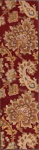 Hand-Tufted-Paisley-Red-Floral-Runner-Agra-Oriental-Rug-Wool-Carpet-3-039-x10-039