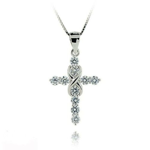 """Women/'s 925 Sterling Silver CZ Crystal Cross Pendant 18/"""" Link Chain Necklace"""