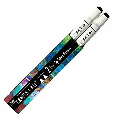 Crafts 4 All Permanent fabric marker Laundry Marker Non bleed Dual tip 2 pack