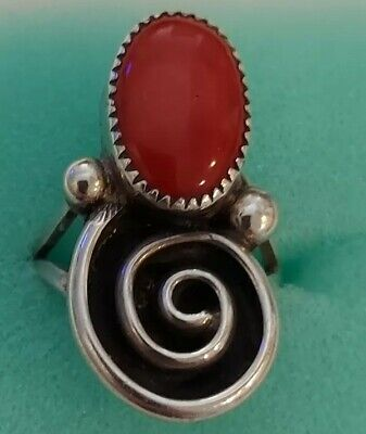 Vintage Native American Indian sterling silver turquoise red coral Navajo Size 6.5 925 Free shipping!