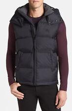 NWT Burberry Brit Men's Nova Check Navy Blue Hooded Down Puffer Vest Jacket SZ M