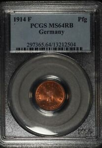 1914-F Germany Empire 1 Pfennig coin, PCGS MS64RB, KM# 10