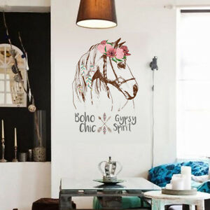 Nice-Removable-Wall-Flower-Horse-Head-Stickers-Bedroom-Home-Art-Decals-Decor