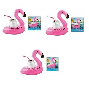 3x-Aufblasbarer-Flamingo-Getraenkehalter-Becherhalter-Dose-Strand-Pool-Party