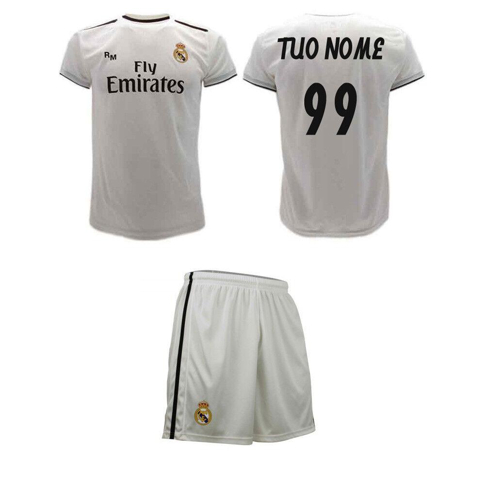 Completo Real Madrid Personalizzato 2019 Maglia e Pantaloncini Tuo Nome Numero