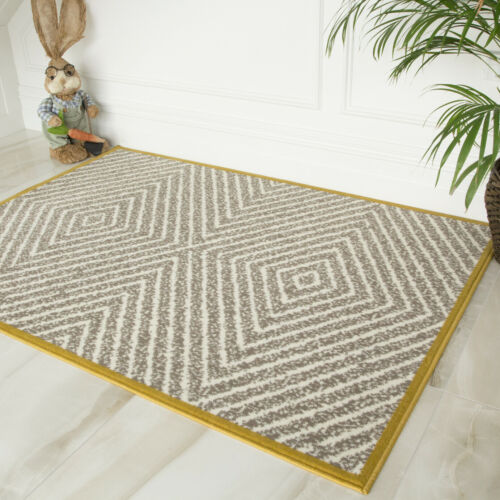 Grey /& Ochre Yellow Geometric Living Room Rugs Non Shed Maze Bordered Area Rug