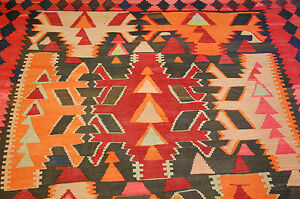 C1920s Antique Caucasian Kilim 4 10x13 All Vegy Dye Mint