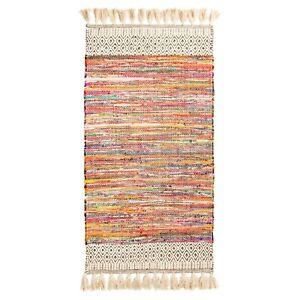 Algodon-Chenilla-Grueso-Borlas-Chindi-Alfombra-De-Trapo-Arco-Iris-Multicolor-Trenzado
