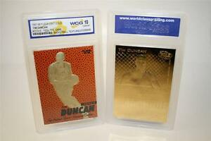 TIM DUNCAN 1997-98 Fleer FEEL THE GAME 23KT Gold Card Rookie Graded GEM MINT 10