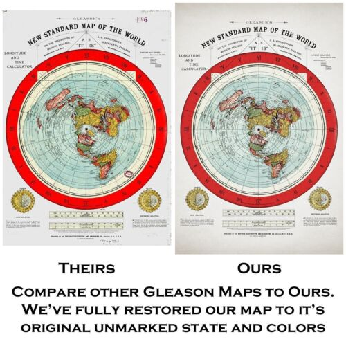 "Gleason/'s 1894 New Standard Map Of The World 24/"" x 36/"" Poster Flat Earth Map"