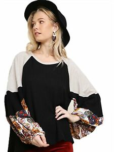 Umgee-Women-039-s-BLACK-Waffle-Knit-Top-with-Floral-Print-Puff-Sleeves
