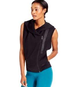 6c3c59e4abce8 Nike Women s Tech Fleece Sleeveless Hoodie Zip Front Vest Black Size ...