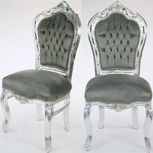 barock esstisch stuhl silber grau dining chair esszimmerstuhl besucherstuhl edel ebay. Black Bedroom Furniture Sets. Home Design Ideas