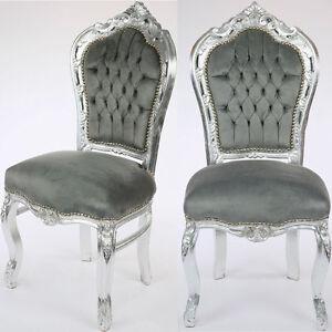 barock esstisch stuhl silber grau dining chair. Black Bedroom Furniture Sets. Home Design Ideas