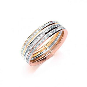 61aa99b519d05d 9ct 3 Colour Gold Russian Style Stone Set Fixed Wedding Band | eBay