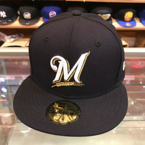 New Era 59FIFTY Milwaukee Brewers Fitted Hat Cap Navy//Grey Bottom