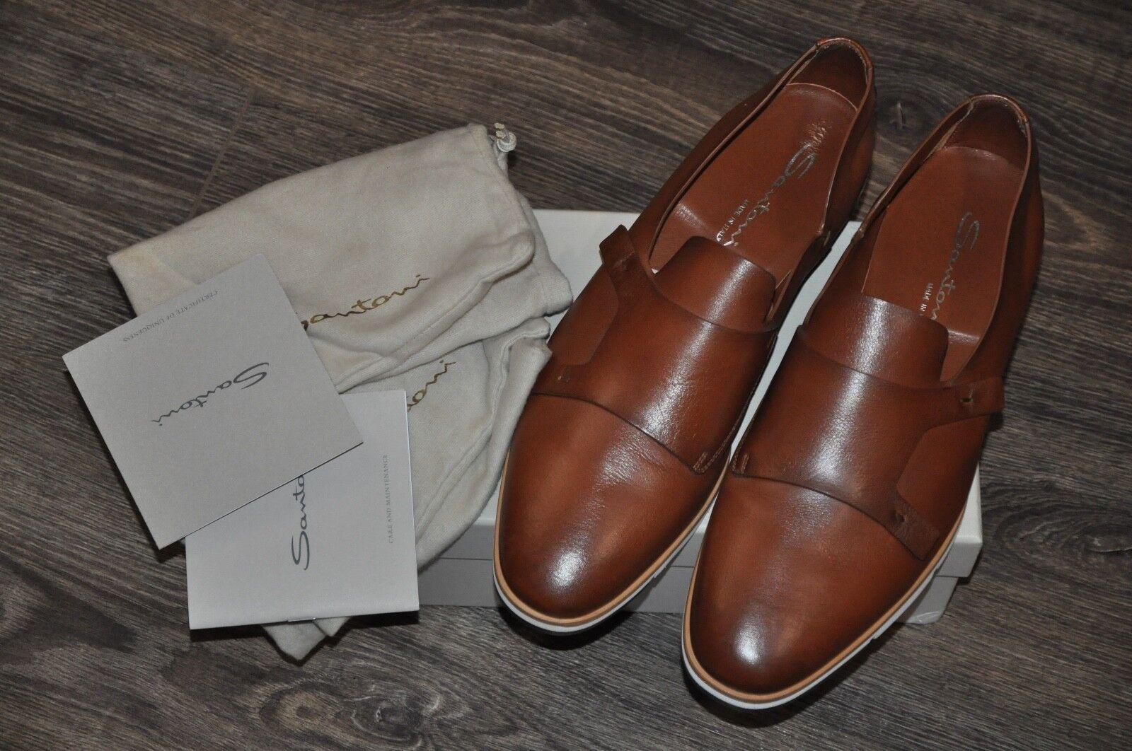 Nuevo Auténtico Doble Monje Correa De Cuero Marrón Santoni Zapatos, UK10 US11