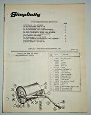 Simplicity Wonder Boy Rider Attachments Parts Catalog Gangreel Mower Snow Plow