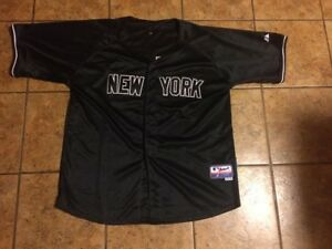 info for b95dc 24258 Details about Rare New York Yankees Size 54 #42 Button Up Black Jersey by  Majestic