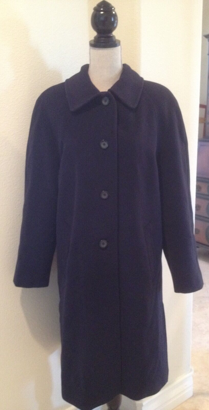 46c407d4 ADA PARINI Vtg Navy bluee Wool Wool Wool Coat CASHMERE Virgin Wool Angora  Blend 12-14 99fb8b