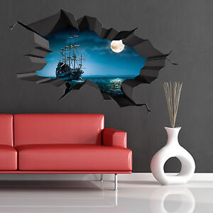 FULL-COLOUR-3D-PIRATE-SEA-OCEAN-CAVE-SHIP-MOON-CRACKED-WALL-ART-STICKER-DECAL