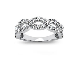 1 08ct Diamond Wedding Band Ring Criss Cross 18k White Gold Round