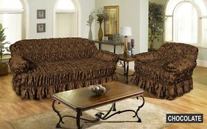 Image Is Loading Jacquard CHOCOLATE BROWN Sofa Cover Settee Slip Cover