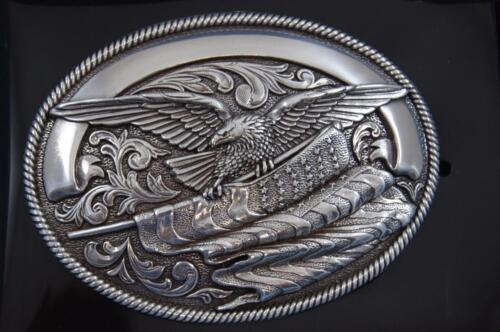 Nocona  Bald Eagle with American Flag Belt Buckle  37034
