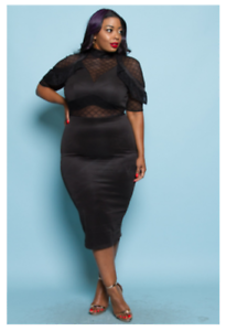 Details about PLUS SIZE MESH SHEER RUFFLE SHOULDER POINT MIDI BLACK BODYCON  DRESS 1X 2X 3X