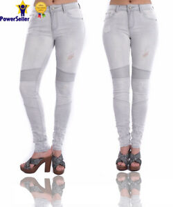 dcee0610e70 New Womens Ripped Knee Skinny Jeans Faded Slim Fit Ladies Denim ...