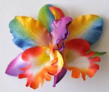 "3.5"" Bright Rainbow Double Cymbidium Orchid Flower Hair Clip Hawaiian Wedding"