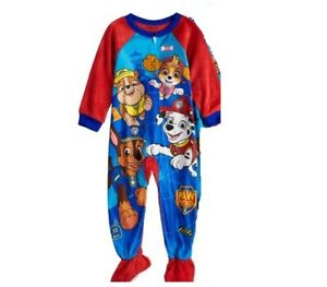 d625ae5fd Paw Patrol Pajamas Boy s 4T NeW Blue Fleece FOOTED Zip Footie Pjs ...